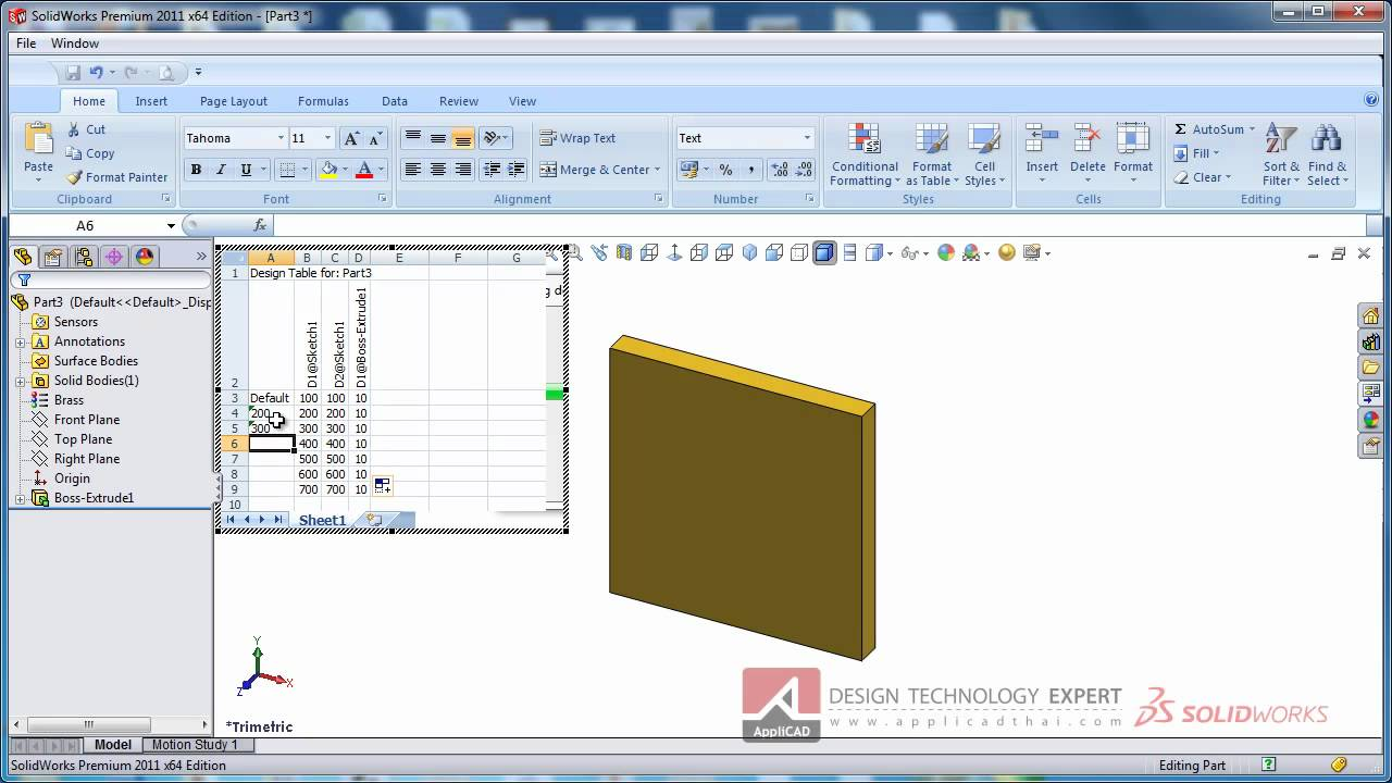Design Table Solidworks automatically created design tables Design Table With Massmp4 Youtube