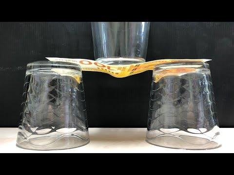 איך להעמיד כוס על שטר נייר