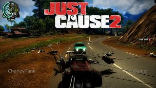 Just Cause 2 30 enemies Grappled together on a buggy