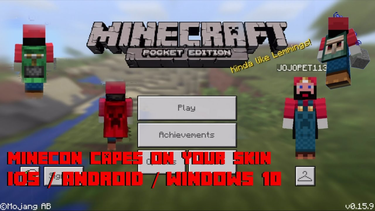How To Use Minecon Capes On Your Custom Skin For IOS Android And - Skin fur minecraft pe erstellen