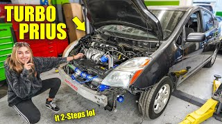 Turbo'd My Honda K-Series Swapped PRIUS in a Day! + First Start and 2-Step!