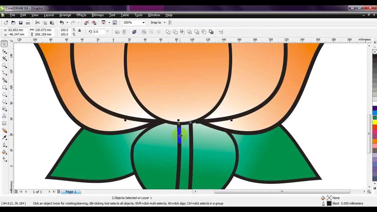 Corel Draw How To Draw Bjp Lotus Very Simple By Ganesh Jamkar Youtube