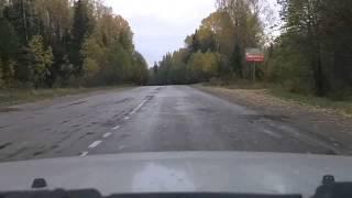 Р-37 Лодейное Поле - поворот на Вознесенье(Ускоренное видео проезда по автодороге Р-37