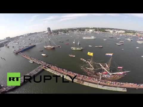 Netherlands: Drone's eye captures historic Tall Ships sailing in Amsterdam