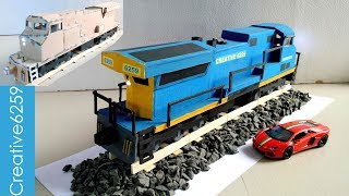 How To Make A Train With Cardboard |Most Powerful American RC Train Engine GE AC6000CW