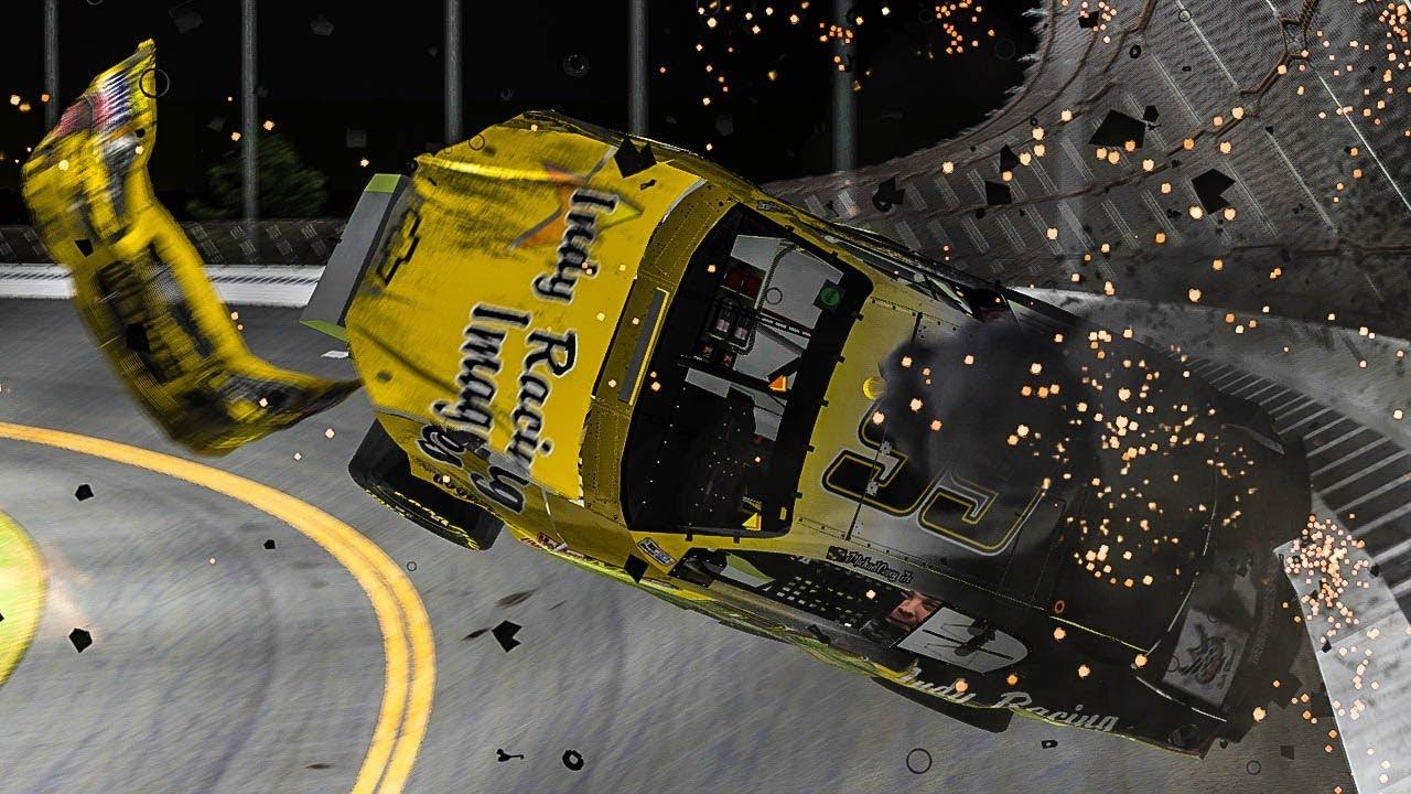iRacing - New K&N Damage Model VS Daytona Banking - YouTube