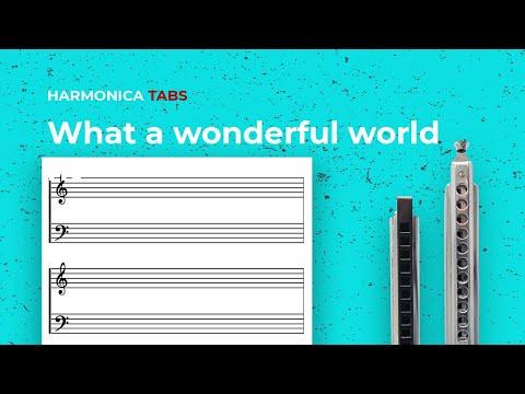 Easy harmonica songs: What a wonderful world (chromatic harmonica tabs - midi)