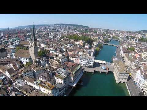 Downtown Zurich Drone View