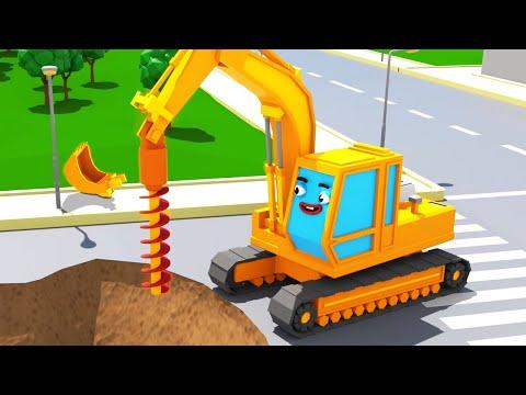 Bagger Kinderfilm - Der GELBE BAGGER Spielt - Super Sammlung - Cartoon f眉r Kinder