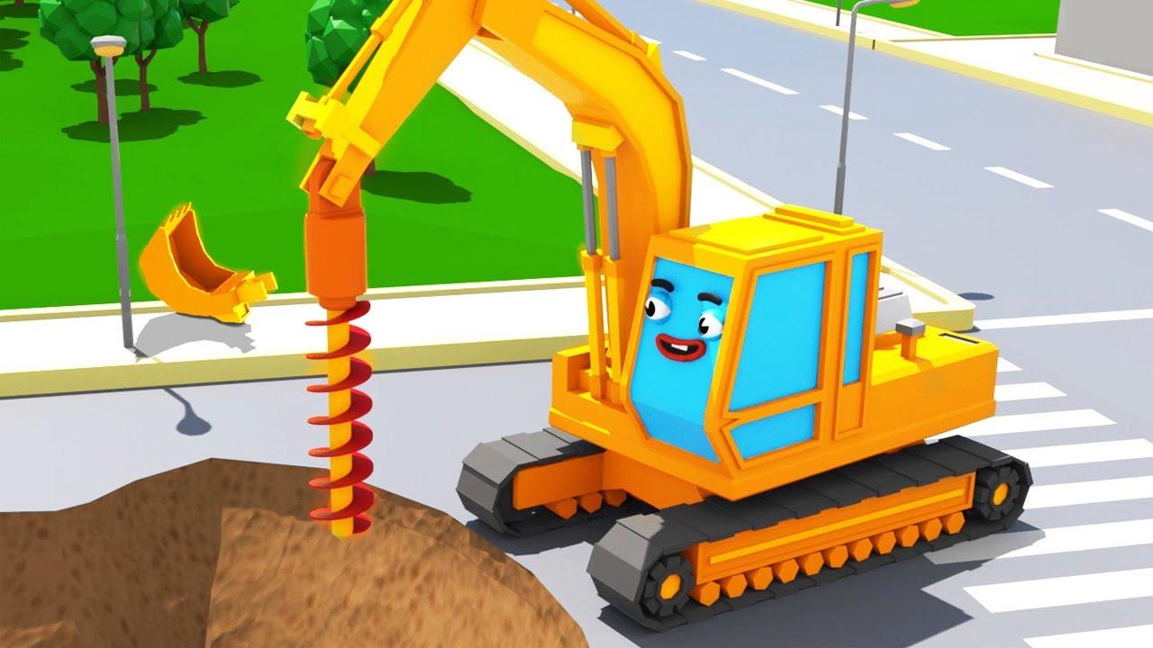 Bagger Kinderfilm Der Gelbe Bagger Spielt Super Sammlung Cartoon Für Kinder