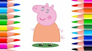Peppa Pig! How To Draw Mommy Pig! Kids Easy Kids Arts and Crafts Peppa Pig Coloring Pages