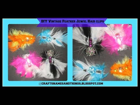How To Make DIY Feather Jeweled Hair Clips/ Easy DIY Sparkly / Statement Hair Accessories!