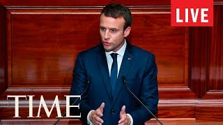 French President Emmanuel Macron Addresses Congress With President Trump | LIVE | TIME