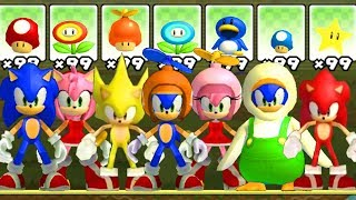 What happens if Sonic & Amy use EVERY Power-UP in New Super Mario Bros.?