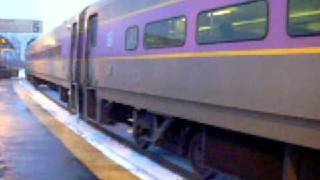 MBTA Commuter Rail Stops at Readville Station on its Way to Franklin/Forge Park
