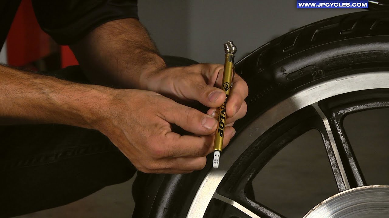 how to check motorcycle tire pressurej&p cycles - youtube