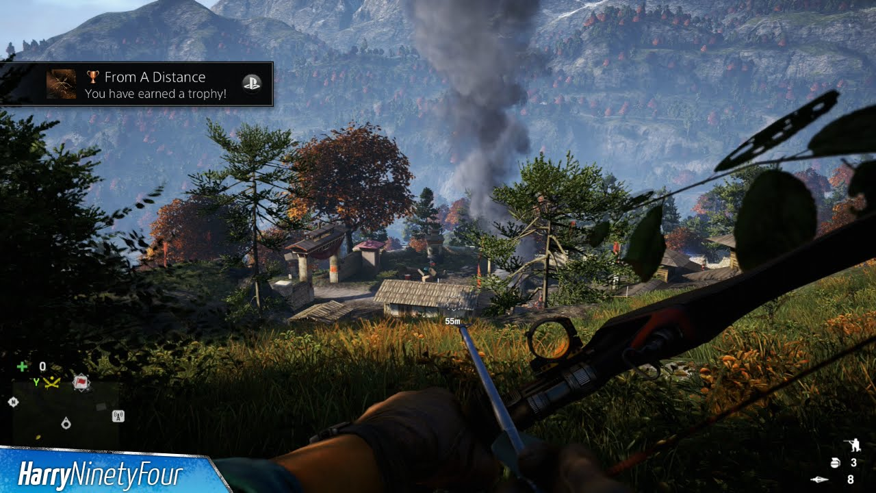 Far Cry 4 From A Distance Trophy Achievement Guide 60m Bow Kill Youtube