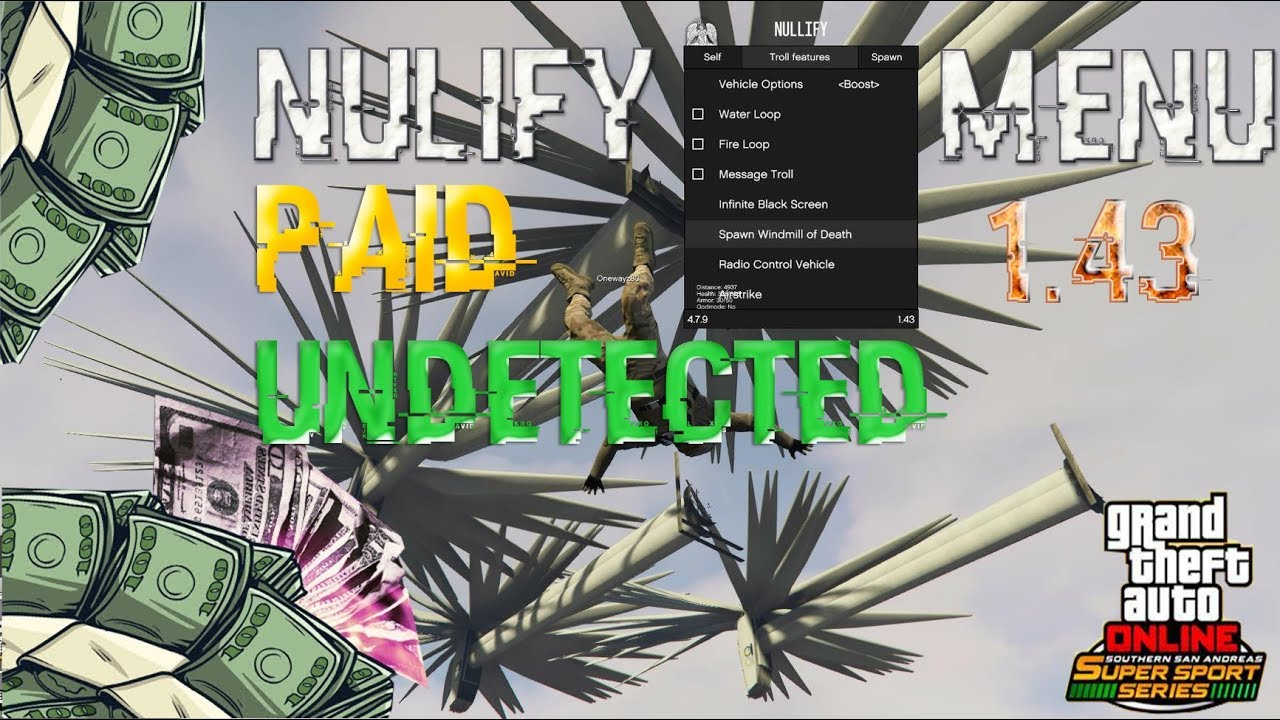 GTA V PC Online 1 43 Nullify Menu - Nullify PAID Hack DETECTED (showcase)