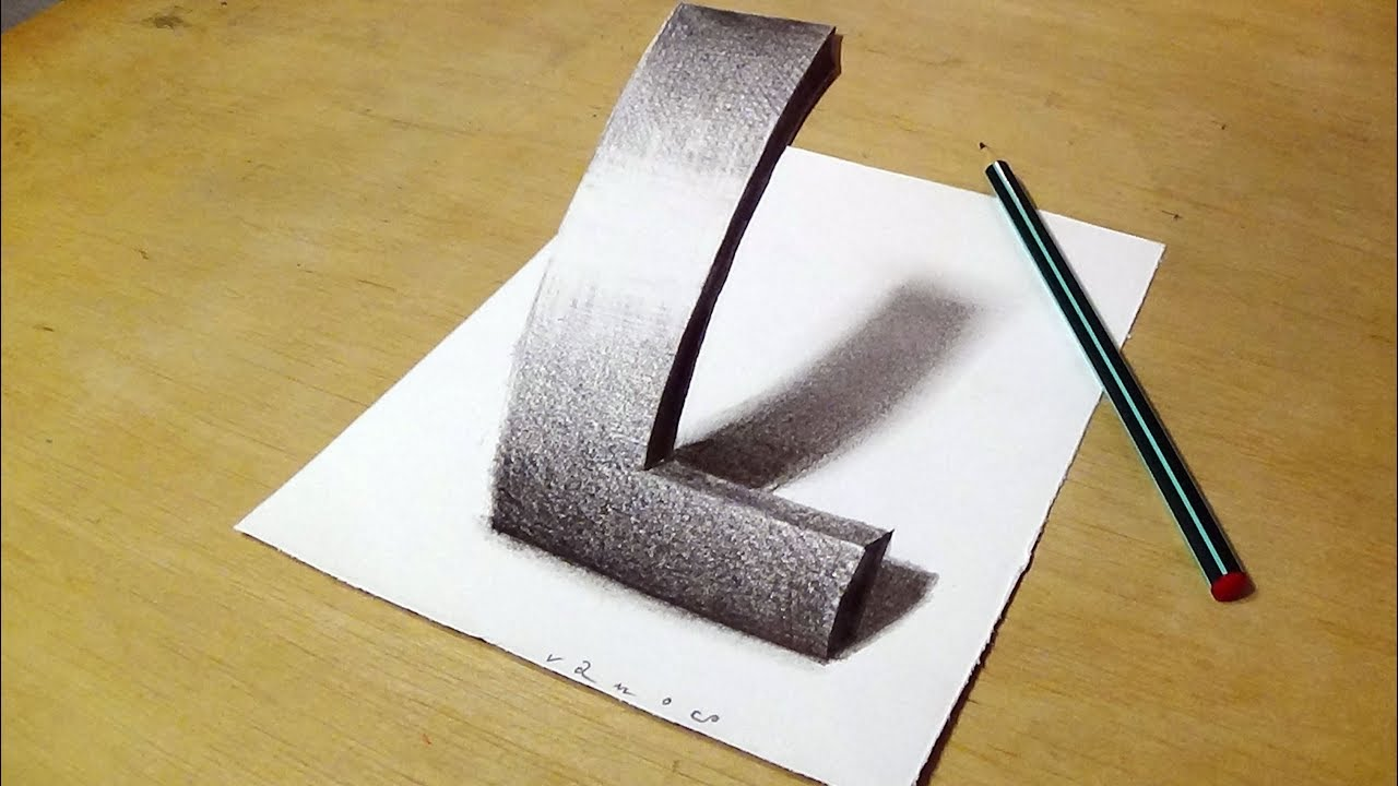 easy drawing 3d letter l how to draw letter l by vamos youtube easy drawing 3d letter l how to draw letter l by vamos