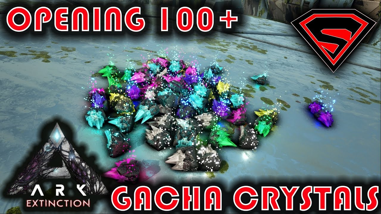 ARK EXTINCTION OPENING 100 GACHA CRYSTALS - OBTAINING INSANELY OP WEAPONS  FROM GACHA CRYSTALS
