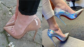 Lovely designs of patent leather pointed toe stilletos/high heels for girls #2021
