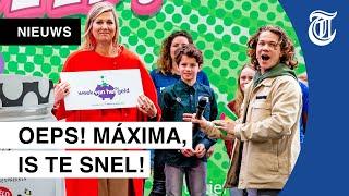 Koningin Máxima maakt foutje bij opening Week van het Geld