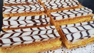 Mille Feuille 👌الميلفاي (ميلفاي) المخبزات بدون عجين مورق بدون تعب او مجهود  ساهل ماهل/حلوى الميلفاي