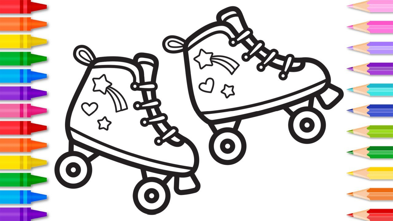 How to Draw Roller Skates Easy Step by Step  Fun Easy Drawing and  Coloring Page for Kids