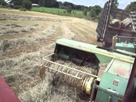Baling with the IH 856, JD 336 with 40 kicker and hand built oak wagon