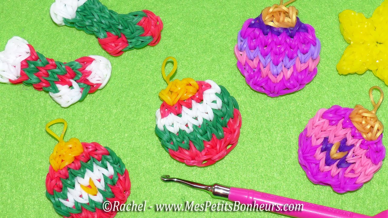 boules de no l rainbow loom tuto en lastiques pour d co. Black Bedroom Furniture Sets. Home Design Ideas