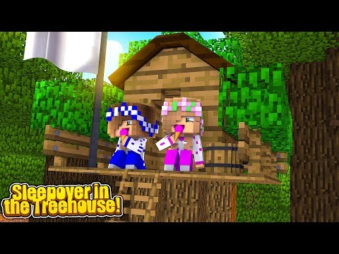 A SECRET SLEEPOVER IN THE TREEHOUSE! (Little Carly Minecraft).