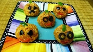Perfect Halloween Dinner! Mini Meatloaves And Spooky Rice Balls