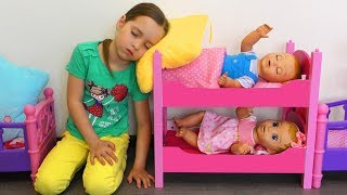 Sofia and Dolls play Toys Cooking Food with Kitchen Play Set for kids