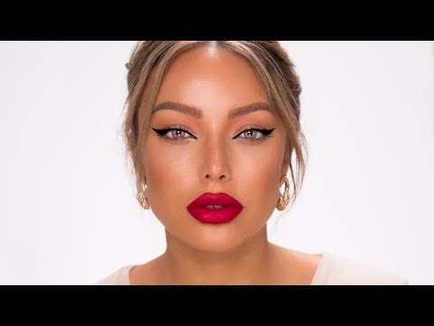CLASSIC WINGED EYELINER + RED LIP MAKEUP LOOK (QUICK & EASY) - Dilan Sabah