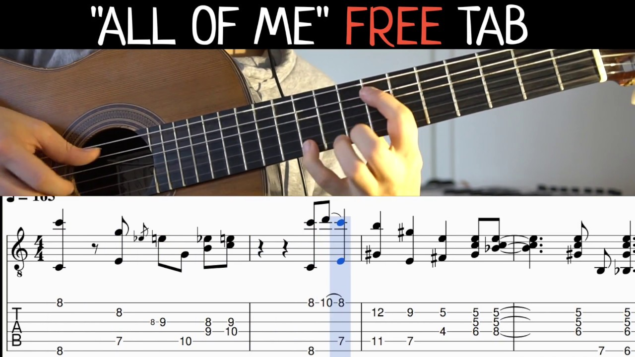 all of me fingerstyle guitar with tabs youtube. Black Bedroom Furniture Sets. Home Design Ideas