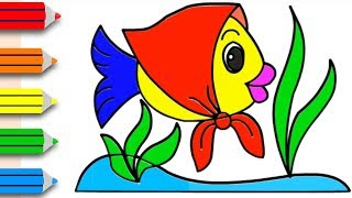 How to Drawing Fish & Coloring Pages for Kids || Learning Videos for Kids