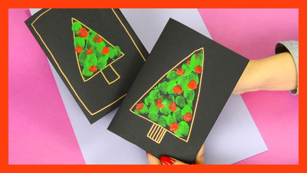 fingerprint christmas tree card  fun christmas craft for