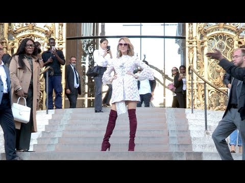 Superstar Celine Dion leaves the Giambattista Valli Couture Fall Winter 2017 fashion show in Style