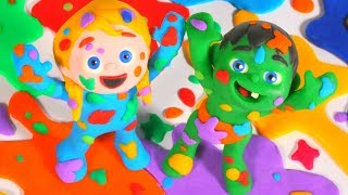 Kids Playing With Rainbow Paint Colors ❤ Cartoons For Kids