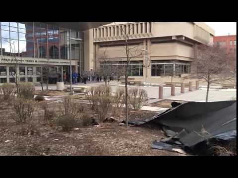 Pieces of roof off El Paso Courthouse in Colorado Springs