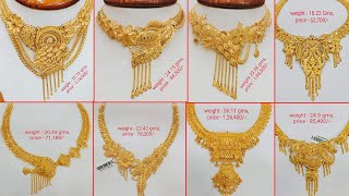 Latest Light Weight Gold Necklace designs with Weight&Price | Gold Choker Necklace designs | TF