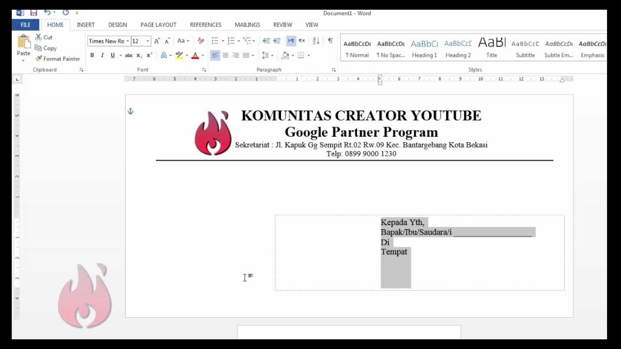 Cara Membuat Kop Amplop Surat Di Msword