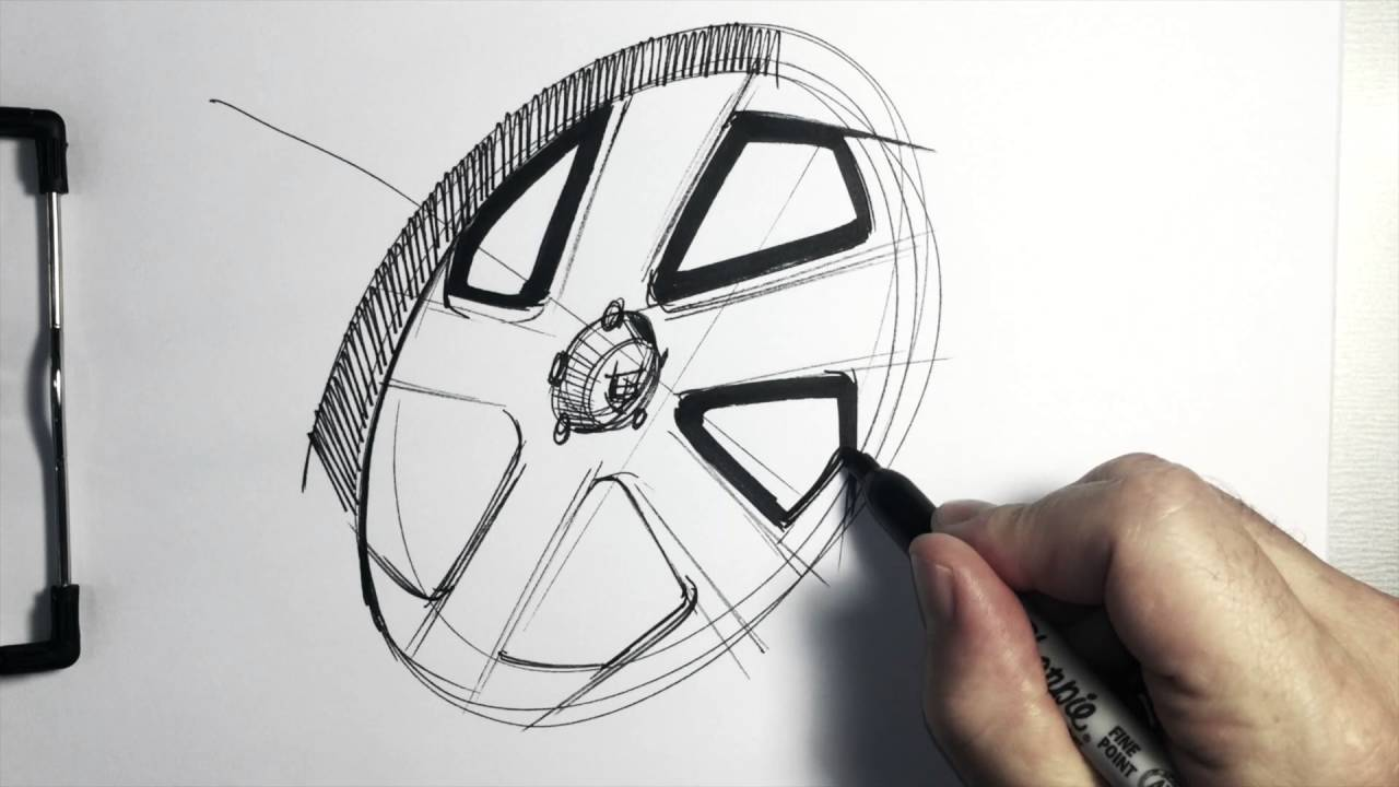 Sketching A Five-spoke Wheel For Your Car Sketch