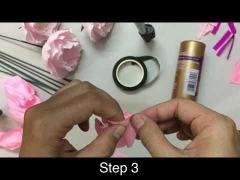 DIY - Paper Flower 04 - Peony making tutorial