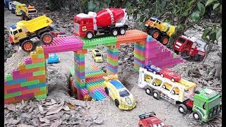 Building Bridge Blocks Toys with Truck Excavator Cars   cars for kids