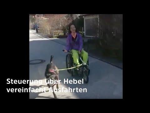 Rollstuhl fahren mit Hund - (Steuerung und Bremsen ganz einfach dank Hebeltrieb und Scheibenbremsen)