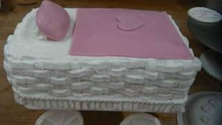 Baby Carriage Cake with Basket Weave