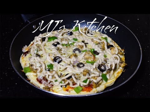 Chicken Malai Boti Pizza in pan | Pizza without oven