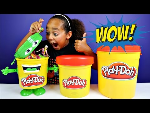 Thumbnail: Giant Play Doh Blind Bag Bins - Kinder Surprise - Slime - Ooshies - Candy - Barbie Toys