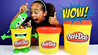 giant play doh blind bag bins kinder surprise slime ooshies candy barbie toys